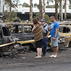シドニーオリンピック公園でタバコポイ捨てで火災発生。